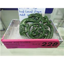 Hand Carved Jade Dragon Amulet