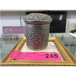 Vintage Lidded Silver Container with Jungle Design