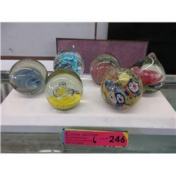 6 Art Glass Paperweights