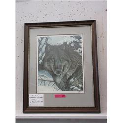 "Remarqued & Signed Randy Fehr Print ""Wolf"""