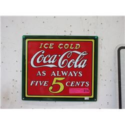 New Embossed Metal Coca-Cola Sign