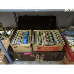 Vintage Footlocker with LP Records