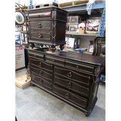 New Ornate 8-Drawer Dresser & Large Bedside Table