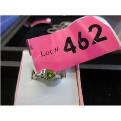 14KT White Gold Peridot Diamond Ring - Size 4.5