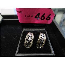 """14KT Gold Tri-Colour Earrings - 1"""" long"""