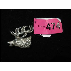 Vintage Sterling Silver Stags Head Brooch