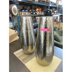 Pair of New Silver Metal Floor Vase
