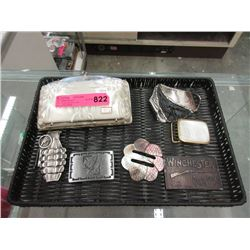 6 Belt Buckles and a Vintage Plastic Clutch Purse