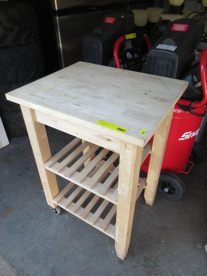 Rolling Butcher Block Kitchen Cart