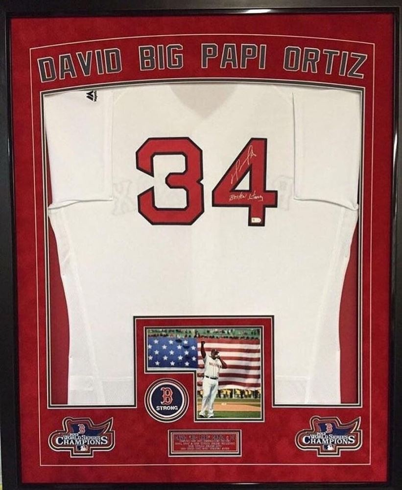 85f5f80601d Image 1   David Ortiz Signed Red Sox 36x42 Custom Framed Authentic Home  Jersey Display Inscribed