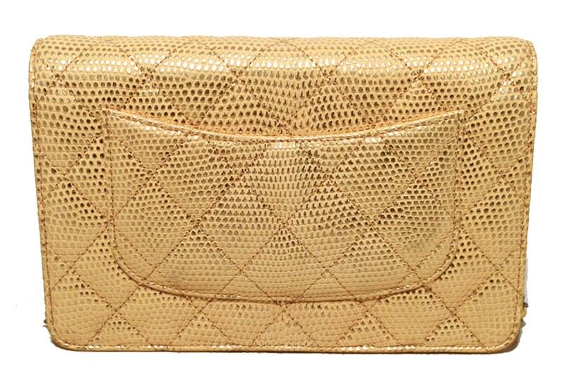 0f0c54bd81e7b6 ... Image 4 : Fabulous Chanel Gold Lizard Classic Wallet on a Chain WOC Rare  ...