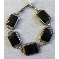 Mexican Handmade Sterling & Stone Link Bracelet