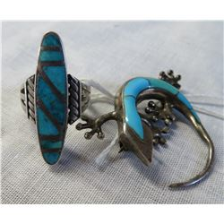 Sterling Silver & Turquoise Ring & Pin