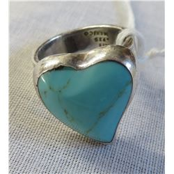 Mexican Sterling Silver & Turquoise Heart Ring