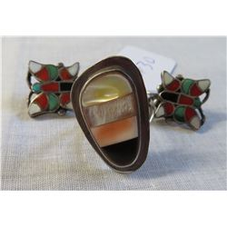 Inlaid Sterling Silver Clip Earrings w/Ring