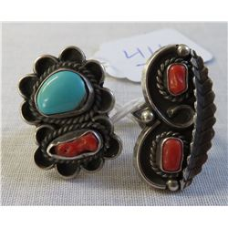 2 Sterling Silver & Coral Rings