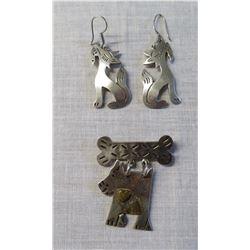 Mexican Earrings & Brooch w/Dogs