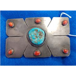 Navajo S.S., Coral & Turquoise Belt Buckle
