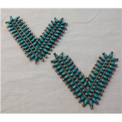 Navajo Sterling Silver & Turquoise Collar Tabs