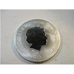 Elizabeth II Niue Two Dollars 2015 Year of the Goat 1 Oz Round Mirror Finish