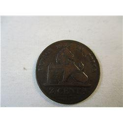 1886 La Union Fait La Force Belgium 2 Centimes 2 Cent Piece