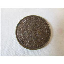 1922 Netherlands Nederlanden 1 Cent Piece