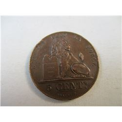 1851 Belgium 5 Cent Piece