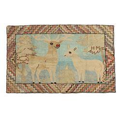 Outstanding Deer & Reindeer Hooked Rug