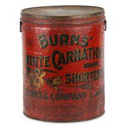 Burns White Carnation Shortening Tin