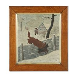 Folk Art Painting of a Fox with Chicken Scene