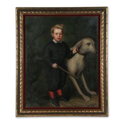 Oil Painting of a Boy with Gun and Pet Dog