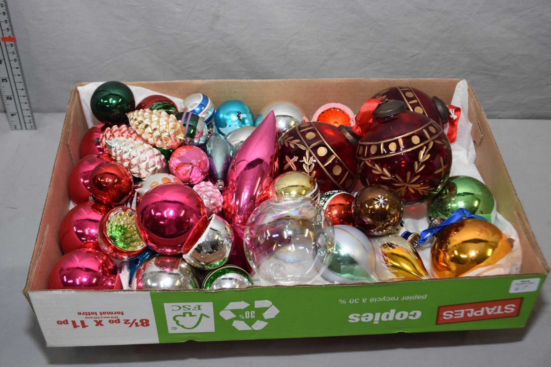 Selection Of Glass Christmas Ornaments Including Vintage Mercury