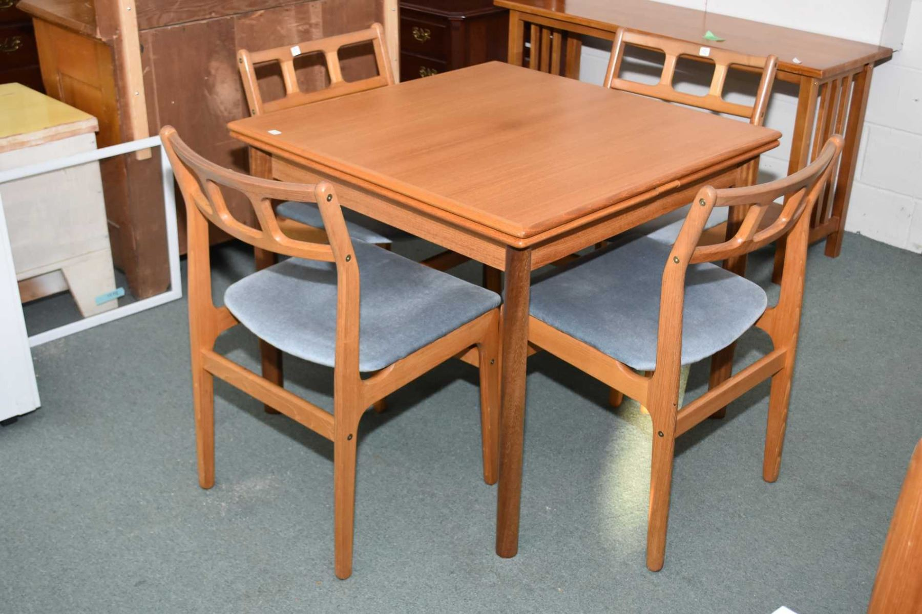 Prime Ansanger Mobler Mid Century Modern Teak Dining Table Plus Bralicious Painted Fabric Chair Ideas Braliciousco