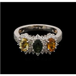 1.85 ctw Multi Color Sapphire and Diamond Ring - 14KT White Gold