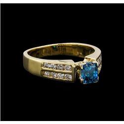 1.37 ctw Blue Zircon and Diamond Ring - 14KT Yellow Gold