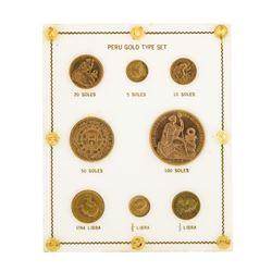 Type Set of (8) Peru Gold Coins