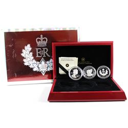 2012 Queen's Diamond Jubilee $20 Fine Silver 3-coin Set issued by the RCM (TAX Exempt). Please note