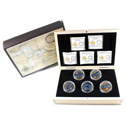 2014-2015 Canada $20 Great Lakes Fine Silver 5-coin Set in Deluxe Display Case (TAX Exempt)