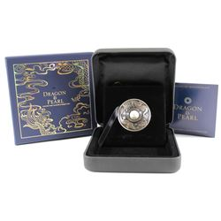 2017 Tuvalu $1 Dragon & Pearl Rotating Antique Finish 1oz Silver Coin (Tax Exempt)
