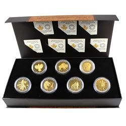 Complete 2014 Canada $20 Seven Sacred Teachings Gold Plated Fine Silver 7-coin Set in Deluxe Display