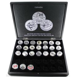 2011 to 2016 Canada $20 for $20 & $25 for $25 Fine Silver Coins In Display Box. You will receive one