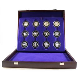 1953-2003 United Kingdom Coronation Anniversary Silver Proof 12-Coin Collection in Deluxe Collector