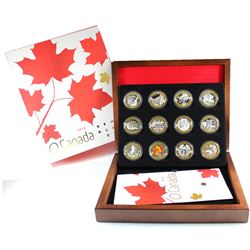Complete 2013 Canada $10 O' Canada Series 12-coin Gold Plated Fine Silver Set in Deluxe Collector Ca