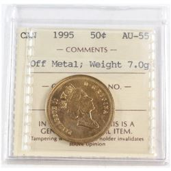 RARE ERROR! 1995 Canada 50-cent Off Metal ICCS Certified AU-55 Weight 7.0g-coin has been struck on a