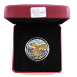 2014 Canada $5 Coloured/Gold Plated Peregrine Falcon Fine Silver Coin (Tax Exempt)
