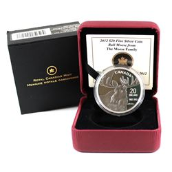 2012 Canada $20 Bull Moose by Robert Bateman Fine Silver Coin (Capsule is lightly scratched). TAX Ex