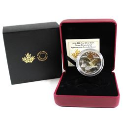 2018 Canada $20 3-Dimensional Approaching Canada Goose Fine Silver Coin (Capsule has small, light sc