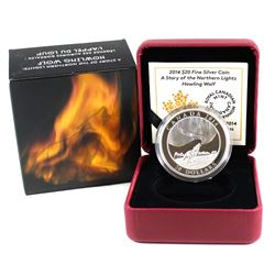 2014 Canada $20 A Story of the Northern Lights - Howling Wolf Fine Silver Coin (outer cardboard slee