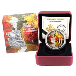 2015 Canada $20 Autumn Express Fine Silver Coin (capsule is lightly scratched). TAX Exempt
