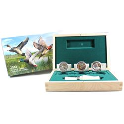 2013-2014 $10 Ducks of Canada 3-coin Deluxe Box Set & Duck Caller (Capsules may have light scratches
